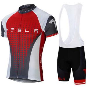 Men Cycling Jersey Bib Short Bicycle Bike Motorcycle MTB Shirt Tesla Clothes Top