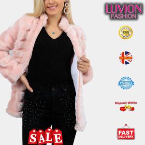 Women Fluffy Fur Jacket Warm Overcoat Outerwear Ladies Coat-PINK