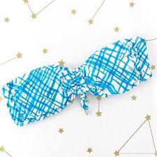 Trina Turk Bikini Top Size Large L Blue Gingham Plaid Bandeau Padded Strapless