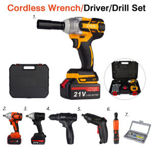Cordless Electric Impact Wrench Gun 1/2'' Driver Drill Set & Battery & Socket