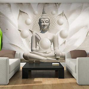 Fototapeten Tapete Tapeten Buddha Kunst Blumen Kugeln Weiss 13N3179P4