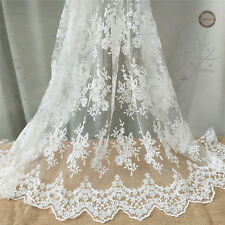 Embroidery Floral Scalloped Eyelash Lace Fabric Wedding Bridal Dress By Metre