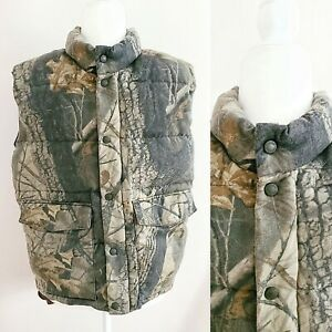 Cabelas Realtree Hardwoods Camo Puffer Vest Goose Down Mens Size Small
