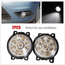 White Front Fog Light Lamp Bumper Clear Lens Full 9LED Bulb Fit For Ford Nissan