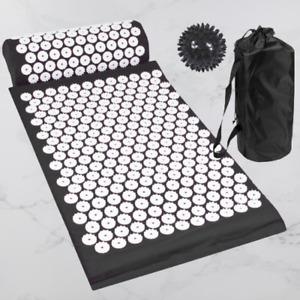 Acupressure Set Mat Pillow Ball Pain Relief Circulation Pressure Points - Black