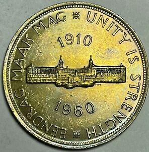 1960 South Africa 5 Shillings Gem BU Toned 50th Anniversary of National Union
