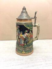 German Beer Steins Mug 95% Zinn Pewter Lid Rhein River Landmarks Tyrol Couple