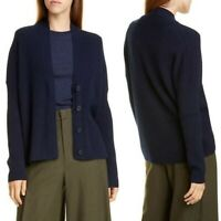 Vince Women's Rib Wool & Cashmere Cardigan Sweater Navy Blue Large NWT!!