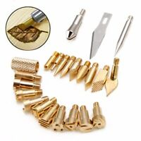 🌏 22Pcs Wood Burning Tool Tips Set Soldering Pyrography Art Pen Craft Brass Kit
