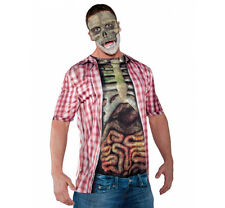 Skeleton & Guts Shirt Walking Dead Bloody Mens Adult Halloween Costume Accessory