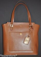 NWT RALPH LAUREN POLO Women TAN TOTE Equestrian COGNAC HANDBAG BAG LEATHER