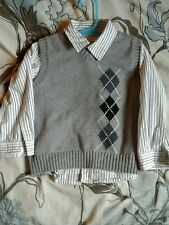 Babies R Us Dress 24 month 2t button up stripe shirt sweater vest Grey Holiday