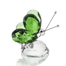 H&D Green Crystal Flying Butterfly Paperweight Animals Decorative Collectibles