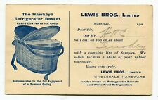 Canada Stationery - Montreal QC 1908 Lewis Bros Refrigerator Basket AD Postcard