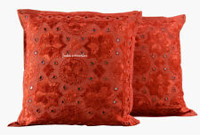 Indian New Gift Cushion Cover Set of 2 Cotton Mirror Handmade Home Decor Orange