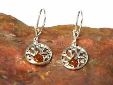 Cognac  AMBER  Sterling  Silver  925 Gemstone  Earrings  -  Gift Boxed