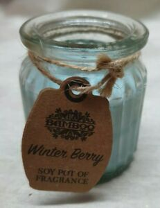 Bamboo Winter Berry Scented Candle. Soy Pot of Fragrance.