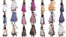 30 Vintage Silk Sari Magic Wrap Around Frill Skirts Dress Wholesale Lot Indian