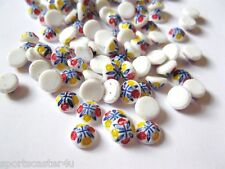288 LOT VINTAGE STONES FOR JEWELRY 8MM ROUND WHITE W/ RED YELLOW DOUBLE FLOWERS
