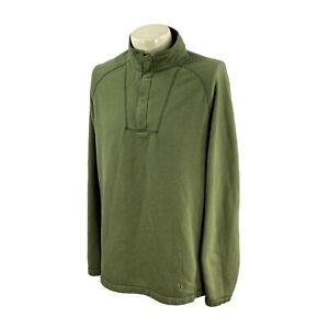 REI Men's 1/4 Zip Pullover 100% Polyester Fleece Outdoor Green Shirt Large Tall