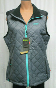 NWT Kast Extreme Fishing Gear Hell Razor Gray Vest Womens L Primaloft Quilted