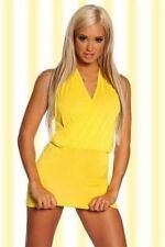 Sexi abito vestito donna corto GIALLO da discoteca cubista scollo americano