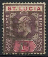 St. Lucia 1902-3 KEVII SG#59, 1d Dull Purple And Carmine Used #A96038