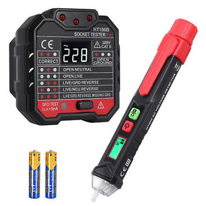 Electrical Test Kit Set With Non-Contact AC Voltage Tester Pen + Socket Tester
