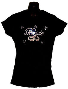 Mariage Mariée Ajusté T-Shirt Avec Strass Cristal