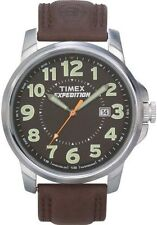 Mens Timex Indiglo Expedition Field Brown Leather Band with Date Watch T44921