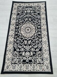 Quality Rug BLACK BEIGE 80 x 150 cm Soft Touch Living Room Turkish Carpet Rugs