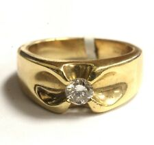 14k yellow gold gents .30ct diamond SI2 H ring mens estate 8.7g vintage estate