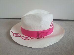 PALOMA BLUE X SENSISTUDIO Ladies Straw Panama Hat With Fuschia Pink Trim