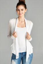 Women Soft Lightweight Thin See Through Long Sleeve Open Cardigan Pockets J9447