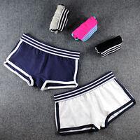 Boyshorts Women Underwear Ultra-Soft Cotton Striped Waistband Neutral M-XXL