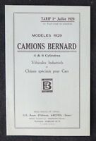 Brochure publicitaire CAMION BERNARD 4 6 cylindres tarif 1929 automobilia