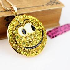 c8b29f3869b6 Betsey Johnson joyería colgante de diamantes de imitación sonriente cara  collares dorado esmalte