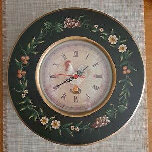 """🐓WOOD Farmhouse 11"""" ROUND 3D ROOSTER Hanging WALL CLOCK Black Gold"""