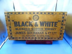 Vintage Black & White Blended Scotch Whiskey Wooden Crate