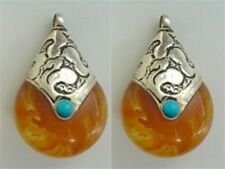 2PCS Big Tibetan Turquoise Sterling Silver Repousse Beeswax Amber Pendants Beads