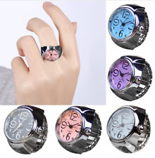 Creative Fashion Steel Round Elastic Quartz Finger Ring Watch Lady Girl Gift
