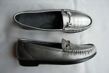 Silvery Pewter Gray Leather SAS Tripad Comfort Loafers w/Silver Metal Accent 9 N