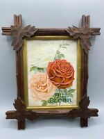 "Antique Maple Leaf Adirondack Tramp Art Picture Frame Fits 6 x 8"" Image Roses"
