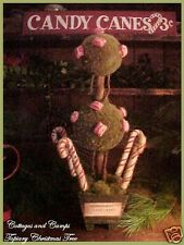 Christmas Topiary Moss Tree Pepperrmint & Candy Canes Primitive Style OOAK