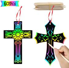 WATINC 60Pcs Scratch Cross Ornaments, Magic Art Rainbow Color Craft Kit for Kids