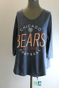 NFL Team Apparel Chicago Bears Womens 18/20 Blue Long Sleeve T-Shirt Embellished