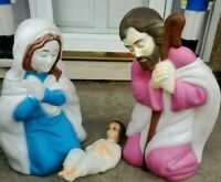 Vintage Nativity Mary, Joseph and Baby Jesus Blow Mold Plastic Lighted 3 pieces.