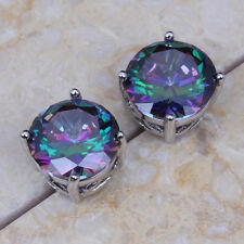Stud Earrings - Uk Seller - Rainbow Mystic Topaz 18K White Gold Plated