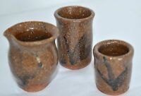 3 Miniature Vases Jar Pot Crocks Brown Hand Thrown Stoneware Pottery Mid Century