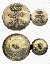 2 Boutons de Livrée, Baron, lettres TA. Noblesse Française, vers 1890. 28/17mm